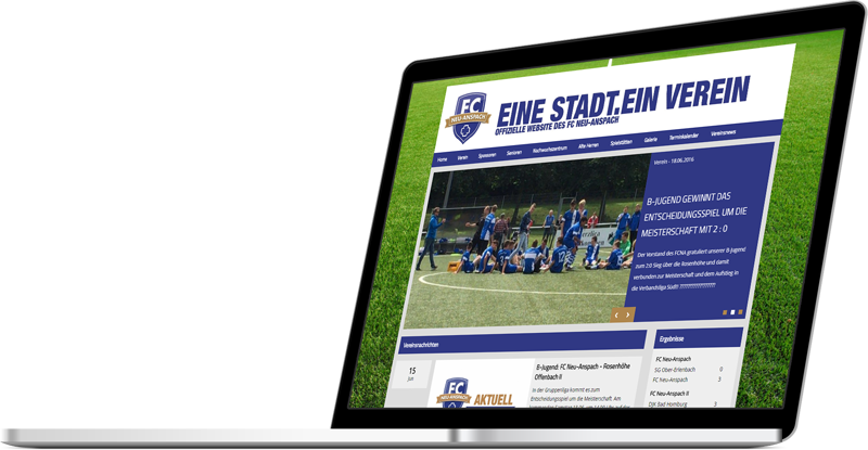 Screenshot einer TeamSports 2 Website